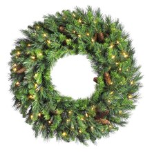 "30"" Cheyenne Pine Artifical Christmas Wreath, Warm White LED lights"