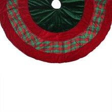 "48"" Christmas Traditions Green, Red Woven Plaid & Velveteen Christmas Tree Skirt"