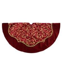 """48"""" Dark Red & Gold Glittered Leaf Flourish Christmas Tree Skirt with Velveteen Trim"""