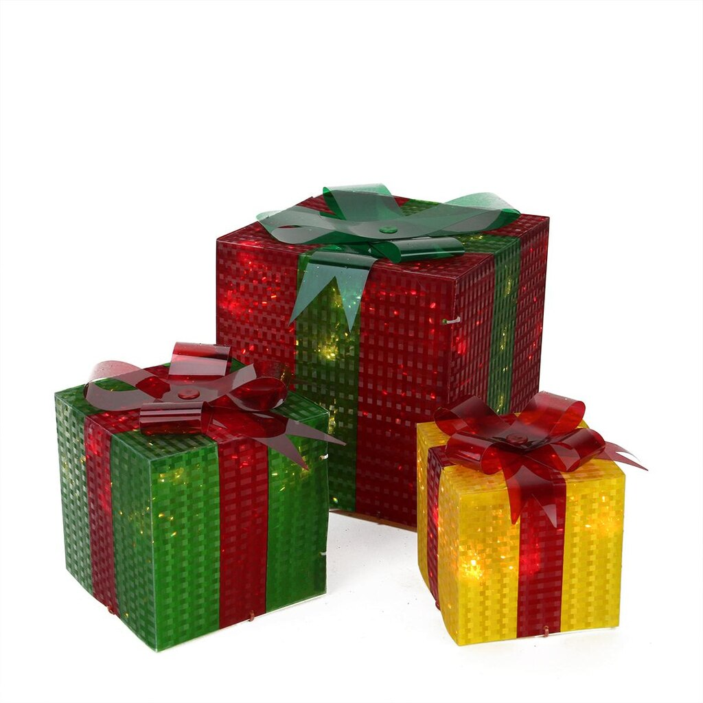 Lighted christmas gift boxes yard decor - 3 Piece Glistening Prismatic Gift Box Lighted Christmas Yard Art Decoration Set