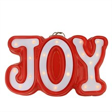 "19"" Lighted Red & White ""JOY"" Hanging Window/Wall Decoration"