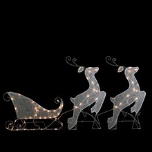 3-Piece White Glittered Reindeer and Sleigh Lighted Christmas Yard Art Decoration Set