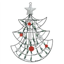 "19"" Lighted Christmas Tree with Silver Tinsel Star Window/Wall Silhouette Decoration"