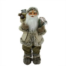 "24"" Alpine Chic Burlap & Corduroy Standing Santa with Snowshoes & Gift Bag"