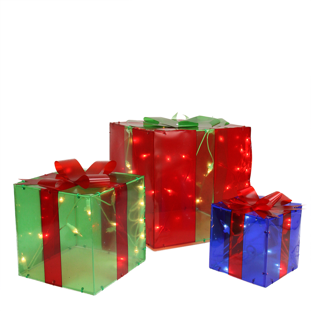 Piece lighted red green and blue gift box presents