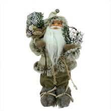 "12"" Alpine Burlap & Corduroy Standing Santa with Snowshoes & Gift Bag"