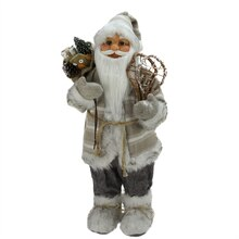 "24"" Alpine Chic Standing Santa with Snowshoes & Gift Bag"