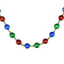 9' Decorative Shatterproof Matte Blue, Red & Green with Shiny Gold Beads Christmas Ball Garland