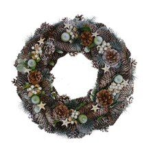 "20"" Frosted Pine Cone Apples & Bay Leaves Artificial Christmas Wreath, Unlit"