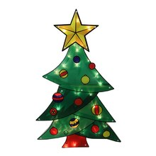"""29.5"""" Lighted Shimmering Christmas Tree Outdoor Yard Art Decoration, Clear Lights"""