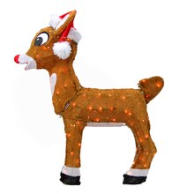 "26"" Pre-Lit Rudolph the Red-Nosed Reindeer in Santa Hat Christmas Yard Decoration"