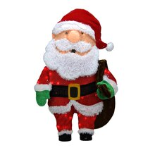 "32"" Pre-Lit Candy Cane Lane 2D Santa Claus with Bag Christmas Yard Art Decoration, Clear Lights"