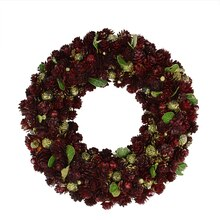 "18"" Wine Burgundy & Gold Glitter Pine Cone Artificial Christmas Wreath, Unlit"