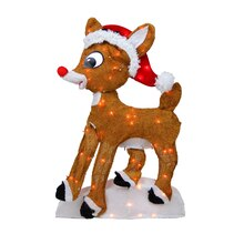 "24"" Pre-Lit 2-D Rudolph the Red-Nosed Reindeer Yard Art Decoration"
