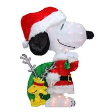 """28"""" Pre-Lit 2-D Peanuts Snoopy with Santa's Toy Bag Christmas Yard Art"""