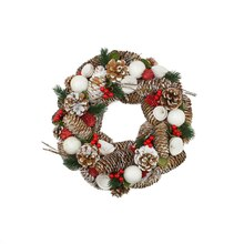 "20"" Frosted Pine Cone Twigs & Berries Artificial Christmas Wreath, Unlit"