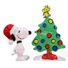"24"" Pre-Lit 2-D Peanuts Snoopy & Christmas Tree Yard Art Decoration"