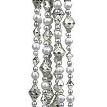 8' Dazzling Diva Shiny & Matte Silver Beaded Christmas Garland