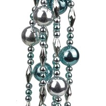 8' Decorative Shatterproof Shiny Teal & Silver Beaded Christmas Ball Garland
