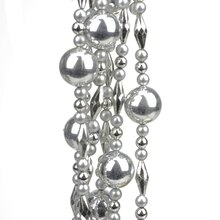 8' Decorative Shatterproof Shiny & Matte Silver Beaded Christmas Ball Garland