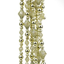 8' Dazzling Diva Shiny & Matte Gold Beaded Christmas Garland