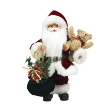 "12"" Santa Claus Traditional Red Suit with Teddy Bear & Gift Bag"