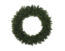 "30"" Pre-Lit Battery Operated Canadian Pine Christmas Wreath, Clear LED Lights"