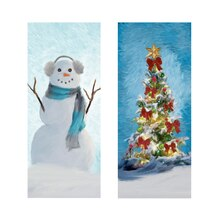 Snowman & Christmas Tree Canvas Painting Kit By Artist's Loft Finished