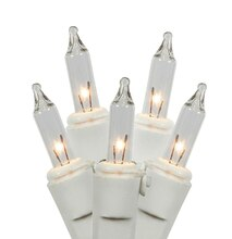 Set of 100 Clear Mini Twinkle Christmas Lights, White Wire