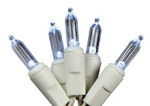 Set of 100 Cool White LED Mini Christmas Lights, White Wire