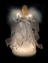 """12"""" Ice Palace Lighted White & Silver Angel Christmas Tree Topper"""