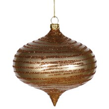 Antique Gold Glitter Striped Shatterproof Christmas Onion Ornament 4""