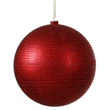 Red Hot Glitter Striped Shatterproof Christmas Ball Ornament 4""