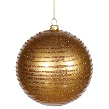 Antique Gold Glitter Striped Shatterproof Christmas Ball Ornament 4""