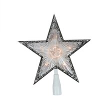"10"" Lighted Clear with Silver Trim Star Christmas Tree Topper"