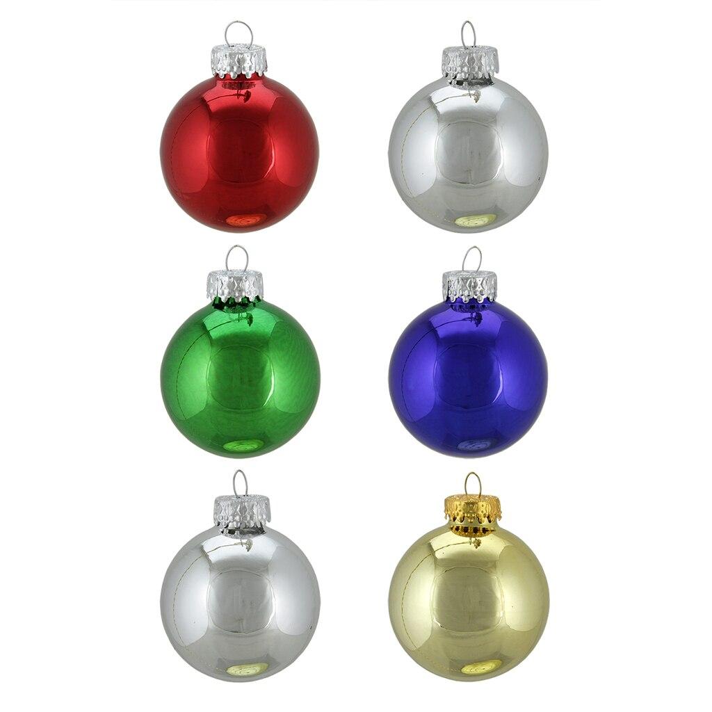 "6ct 2.5"" Shiny Multi-Color Glass Ball Christmas Ornaments"
