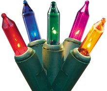 Set of 50 Multicolor Mini Christmas Lights, Green Wire