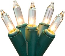 Set of 50 Clear Mini Christmas Lights, Green Wire