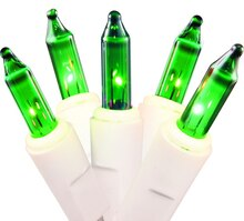 Set of 50 Green Mini Christmas Lights, White Wire