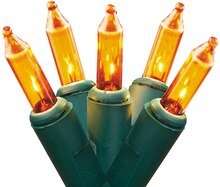 Set of 50 Gold Mini Christmas Lights, Green Wire
