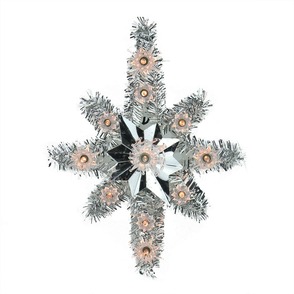 "11"" Lighted Silver Tinsel Star of Bethlehem Christmas Tree ..."