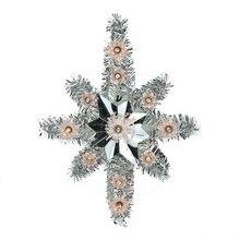 "11"" Lighted Silver Tinsel Star of Bethlehem Christmas Tree Topper"