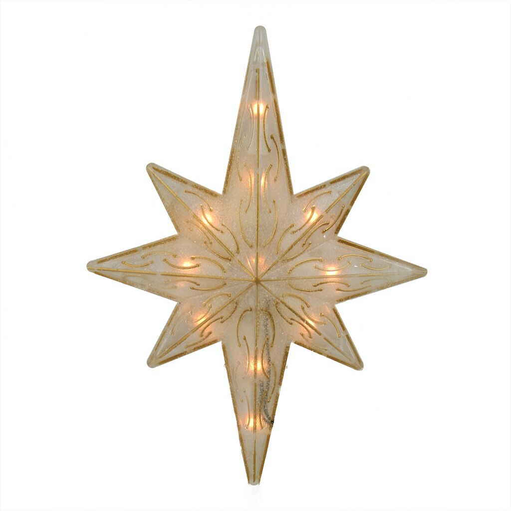 "Star For A Christmas Tree: 11.75"" Lighted Gold Glitter Star Of Bethlehem Christmas"
