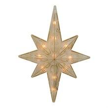 """11.75"""" Lighted Gold Glitter Star of Bethlehem Christmas Tree Topper"""