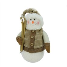 "10"" Brown & Beige Snowman with Skis and Mistletoe"