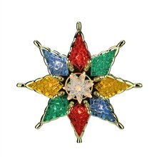 "7.75"" Lighted Multicolor Mosaic Style Star Christmas Tree Topper"