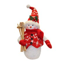 "10"" Red & White Snowman with Skis"