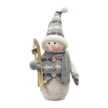 "10"" Gray & White Snowman with Skis"