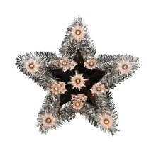 "9"" Lighted Silver Tinsel Star Christmas Tree Topper"