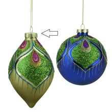 """5.5"""" Regal Peacock Gold & Green Glittered Glass Finial Christmas Ornament"""